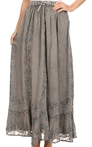 Sakkas SK16319 - Jaclyn Adjustable Skirt with Lace Embroidered Trim and Detailed Embroidery - Grey - OS