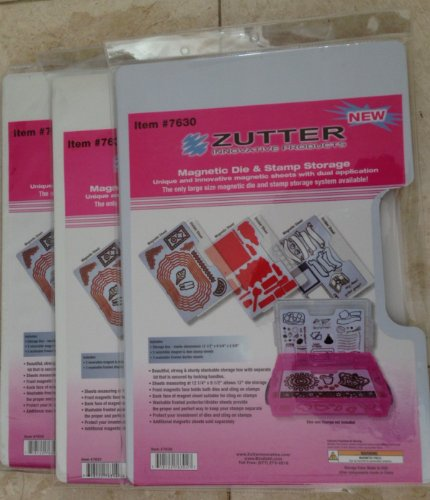 Zutter - Spellbinder Magnetic Die & Clear and Cling Stamp 3 Packs Refill Sheets - Total 3 packs @ 3 sheets each by Zutter