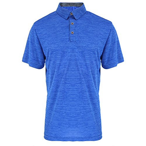 TanBridge Men's Golf Polo Shirts Short Sleeve Quick Dry Athletic Slim Fit T Shirts (Royal Blue,L)