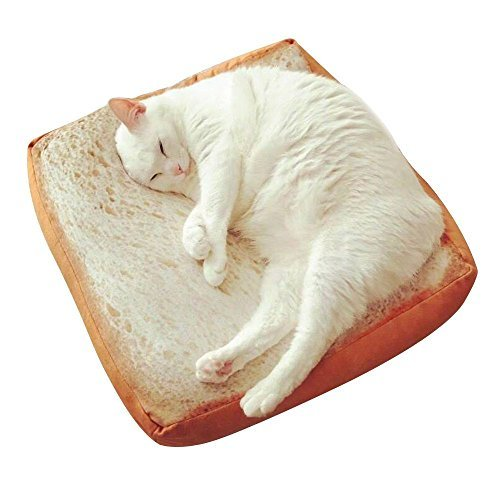 Yeelen Pet Cat Bed Mattress Soft Quilted Cat Cushion Pad Simulated Creative Toast Seat for Cute Animal Catty and Doggy Sleeping Playing Resting (FOAM)