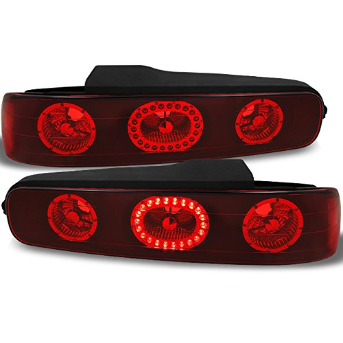 Acura Integra 2Dr Coupe LED Ring Style Red Lens Tail Lights Tail Lamps Replacement Pair Left + (01 Acura Integra 2dr Tail)