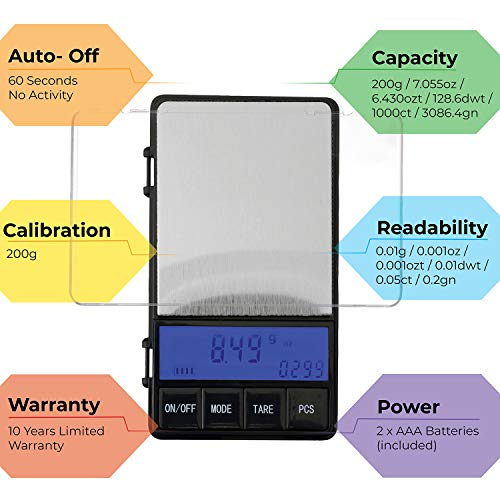 American Weigh Scales AWS Series Digital Pocket Weight Scale, Black, 200 x 0.01G