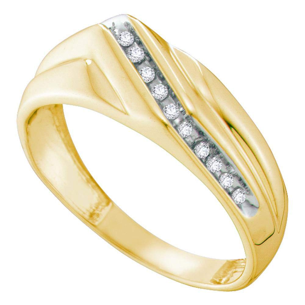 10kt Yellow Gold Mens Round Diamond Diagonal Single Row Wedding Band Ring 1//8 Cttw