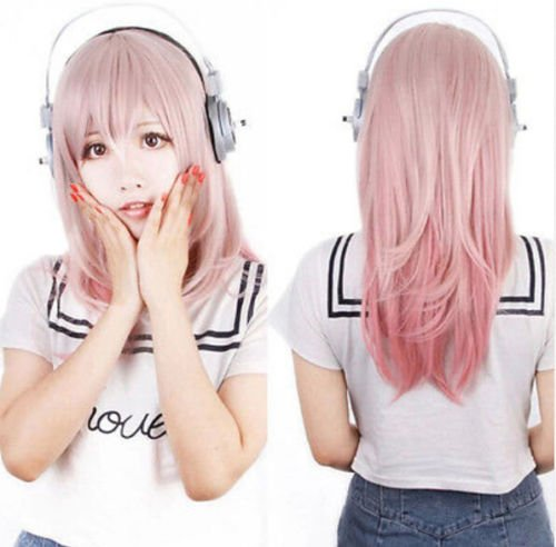 DASARA Super Sonico Anime Wig Pink Gradient Hair Wig Costume Nature Wave Curly Wig ()