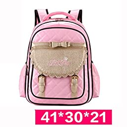 Dongcrystal Children School Backpack Bags Girls Students Patent Leather Bow Bag-Pink