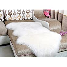 Dikoaina Classic Soft Faux Sheepskin Chair Cover Couch Stool Seat Shaggy Area Rugs For Bedroom Sofa Floor Ivory Fur Throw Blanket White 2ft x 3ft (2ft x3ft)