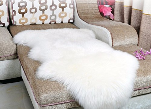 Dikoaina Classic Soft Faux Sheepskin Chair Cover Couch Stool Seat Shaggy Area Rugs For Bedroom Sofa Floor Ivory Fur Throw Blanket White 2ft x 3ft (2ft x3ft) (Rug Furry White)