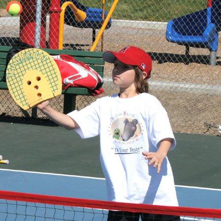 Oncourt Offcourt Home Tennis Starter Kit - Set Includes: 1 Mini-Net / 1 Set of 2 Hand Racquets / 1 Set of 6 Quick Start 36 Foam Balls
