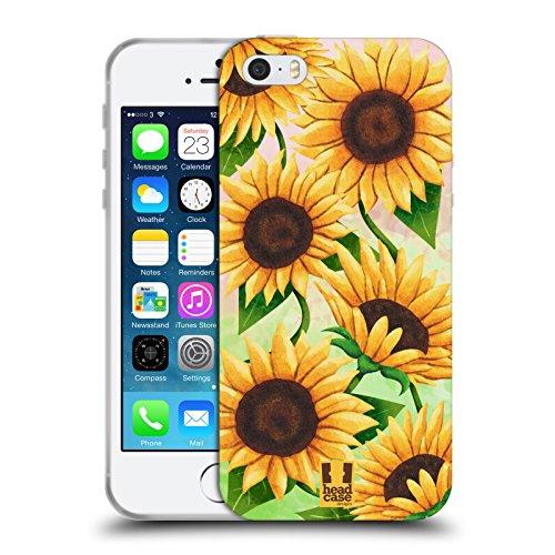 Head Case Designs Sunflower Organic Florals Soft Gel Case for Apple iPhone 5 / 5s / SE