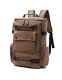 Aidonger Canvas and Leather Chest Bag Bodybag Shoulder Bag Backpack (Coffee)