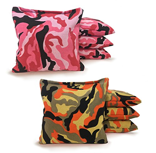 Johnson Enterprises, LLC 8 Standard Corn Filled Regulation Duck Cloth Cornhole Bags 17 Colors Available (You Pick)!! (Pink Camo/Orange Camo)