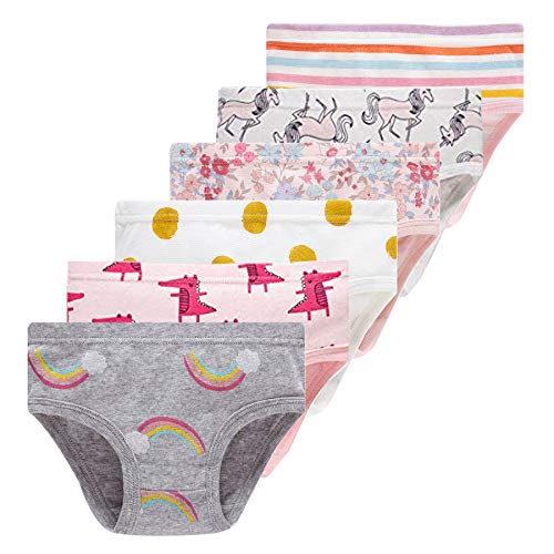 Winging Day Toddler Little Girls' Cotton Soft Panties Assorted of Cute Prints Underwear Size 3T/4T (6-Pack) ()