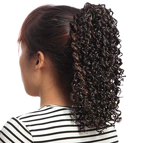 - NFACE Synthetic African American Afro Kinky Curly Puff Drawstring Ponytail Wig Hairpiece Extension for Black women Girls Kids Children Chignon Bun Updo Brown Auburn 4/30 16