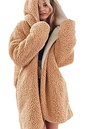 Amazon.com: Women Reversible Fuzzy Hooded Cardigan Winter
