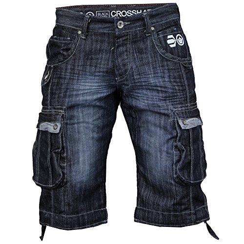 Denim Crosshatch Pantalones Cortos Cargo de hombre Vaqueros Combat Jeans de Verano Casual Blau - Délavé Foncé