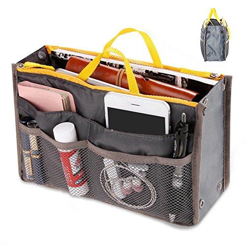 09594a4df547 Lovelynee Purse Organizer Insert Handbag Pocket Organizer Purse Pouch Bag  in Bag Multi Pocket Travel Multi functional Purple Black Pink Gray (Gray)