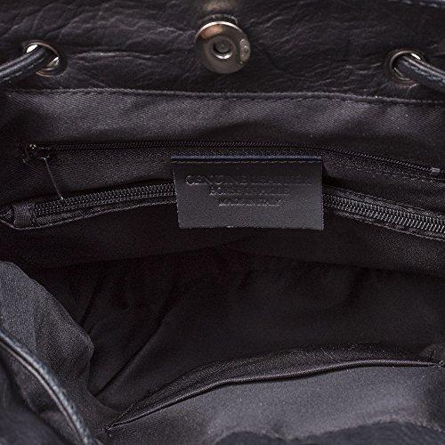 Vera Genuino de Negro 26x33x18 Made Bolso Italiana Tacto Savage Grande Suave Negro auténtica Color Casual cm Azul IN Firenze Cuero Pelle Mochila Mochila ARTEGIANI Piel Piel Italy Mujer P8wx8EHBqp