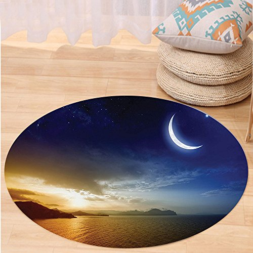 VROSELV Custom carpetApartment Decor Serene Landscape with Moon Lunar and Star Mystic Holy Sky over Lake Image for Bedroom Living Room Dorm Blue Orange Round 72 inches by VROSELV