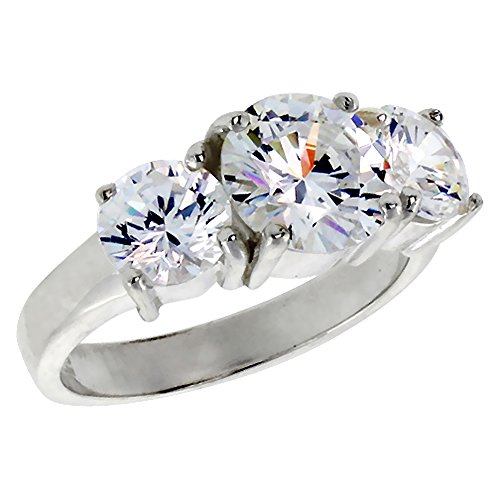 Sterling Silver Cubic Zirconia 3-Stone Ring Brilliant Cut 2 ct Center, sizes 6 – 10