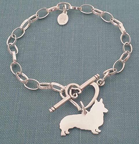 (Sterling Silver Pembroke Welsh Corgi Dog Chain Bracelet with Heart Toggle Your Pet Memorial Jewelry)
