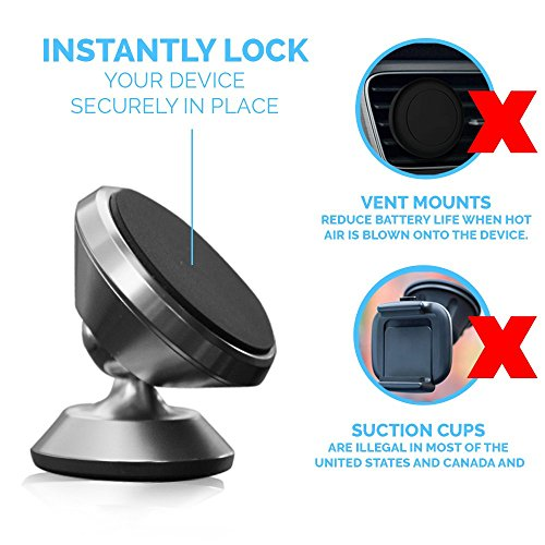 INDUSTRIAL GRADE 'GRYP' Magnetic Car Mount and Truck Phone and Tablet Mount. Universal Fit for ALL models. 360 Rotation and Full Tilt. 100% and includes ELD HOS LOGBOOK (Black) durable service