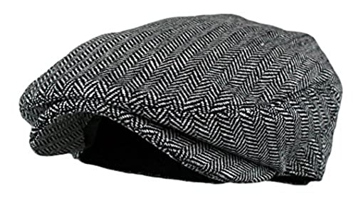 Men s Classic Herringbone Tweed Wool Blend Newsboy Ivy Hat 696a82573b9b