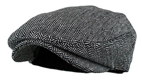 Wonderful Fashion Men's Classic Herringbone Tweed Wool Blend Newsboy Ivy Hat with (Grey, ()