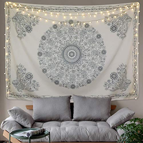 BLEUM CADE Tapestry Mandala Hippie Bohemian Tapestry Wall Hanging Medallion Floral Art Tapestry Wall Hanging Indian Dorm Decor for Room (Beige, 70.8