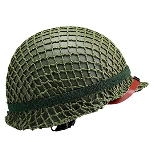 (Replica WW2 US M1 Helmet Steel Field Green With Net Cover Eye Belt)