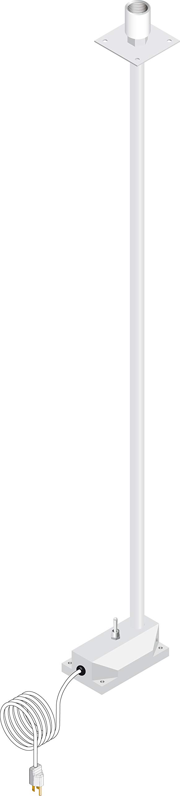 Checkout Light, White Shade with Black Number Five (5), Anodized Silver Pole Includes Base Mount and Bulb Socket by D & P Custom Lights & Wiring Systems (Image #2)