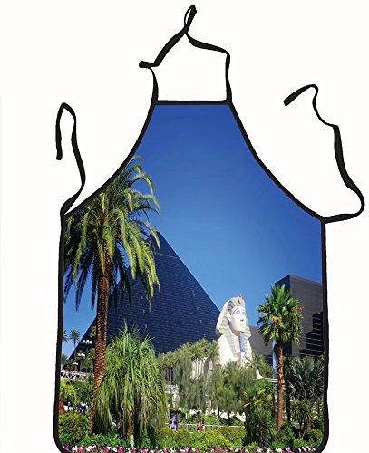 chanrancase tailored apron Luxor hotel casino on Las Vegas strip Children, unisex kitchen apron, adjustable neck for barbecue 17.7x26.6+10.2(neck) - Strip Running Las Vegas