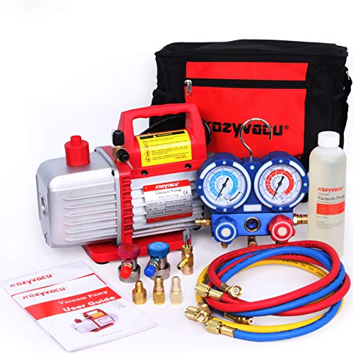 Kozyvacu Mini Split/HVAC/AUTO AC Repair Complete Tool Kit with 1-Stage 4.5 CFM Vacuum Pump, Manifold Gauge Set, Hoses and its Acccessories ...