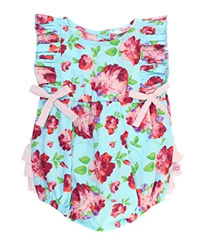 RuffleButts Baby/Toddler Girls Life is Rosy Ruffle Romper - 6-12m