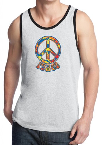 Funky 70s Peace Sign - Yoga Clothing For You Mens Funky 70s Peace Sign Tank Top, 4XL White/Black