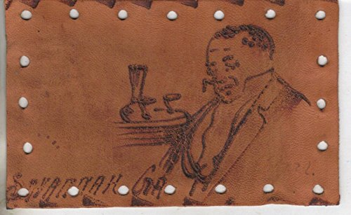 (Savannah Georgia man in suit sleeping by beverage table leather antique pc Z4193)
