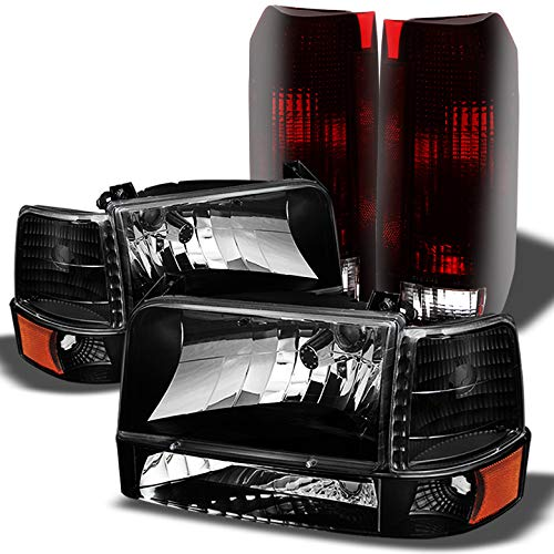 Xtune For 1992 1996 Ford F150 F250 Bronco Smoked Headlights Set Smoked Red Tail Lights Combo 1993 1994 1995
