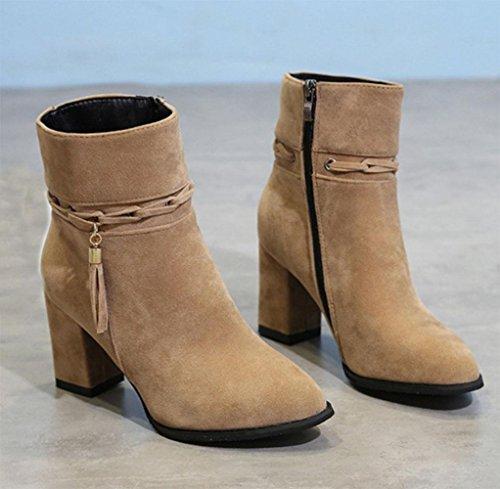 Donna donna e a 5 zip nbsp; Martin Inverno Rilassati Stivali inverno a antiscivolo stivali scarpe stivali Stivali tacchi Kuki us6 5xzw88