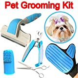 Pet Grooming Kit Effectively Reduces Shedding Professional Deshedding Brush and Massage Glove Nail Clippers Finger Toothbrush And Scissors for Dogs And Cats