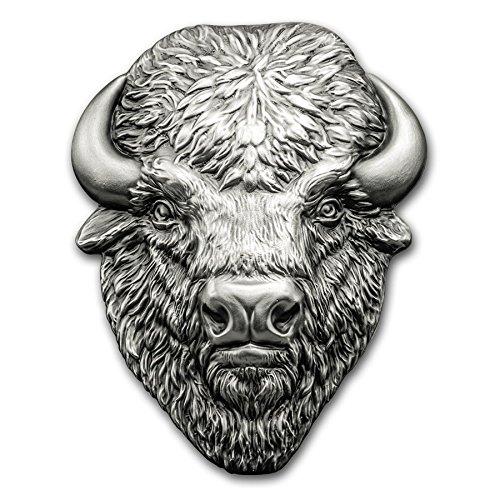 2017 DE Cook Islands 2 oz Silver Antique Finish American Buffalo Silver Brilliant Uncirculated