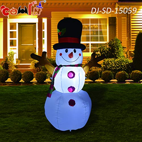 GOOSH Christmas Masters 5Foot Tall Inflatable Snowman with Branch Hand LED Lights Indoor-Outdoor Yard Lawn Decoration - Cute Fun Xmas Holiday Blow Up Party Display (Christmas Decorations)
