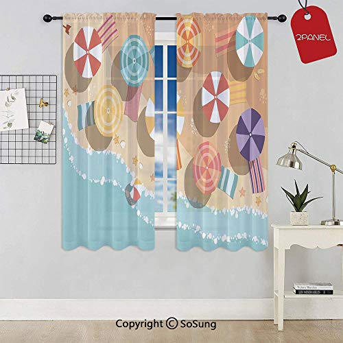 Aerial Rods Star - Summertime Seacoast with Colorful Umbrellas Stars Flat Design Aerial View Vacation Rod Pocket Sheer Voile Window Curtain Panels for Kids Room,Kitchen,Living Room & Bedroom,2 Panels,Each 52x45 Inch,Mu