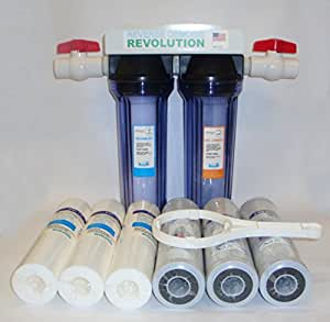 Dual Stage Whole House Water Purification System with Sediment and CTO Filters, with 3/4