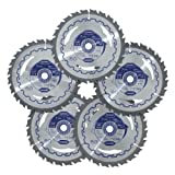 5 Pack - Kobalt 7-1/4 inch 24 Teeth, 5/8' Arbor Carbine Tipped...