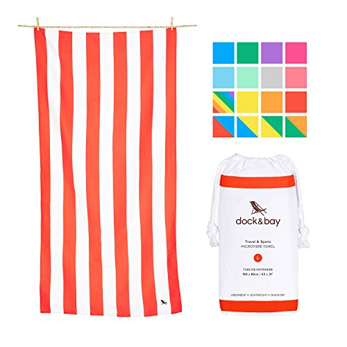 Dock & Bay Compact Sand Proof Beach Towel - Coral Red, Large 63x31 - Beach Towels for Travel, Adult & Kids Towel