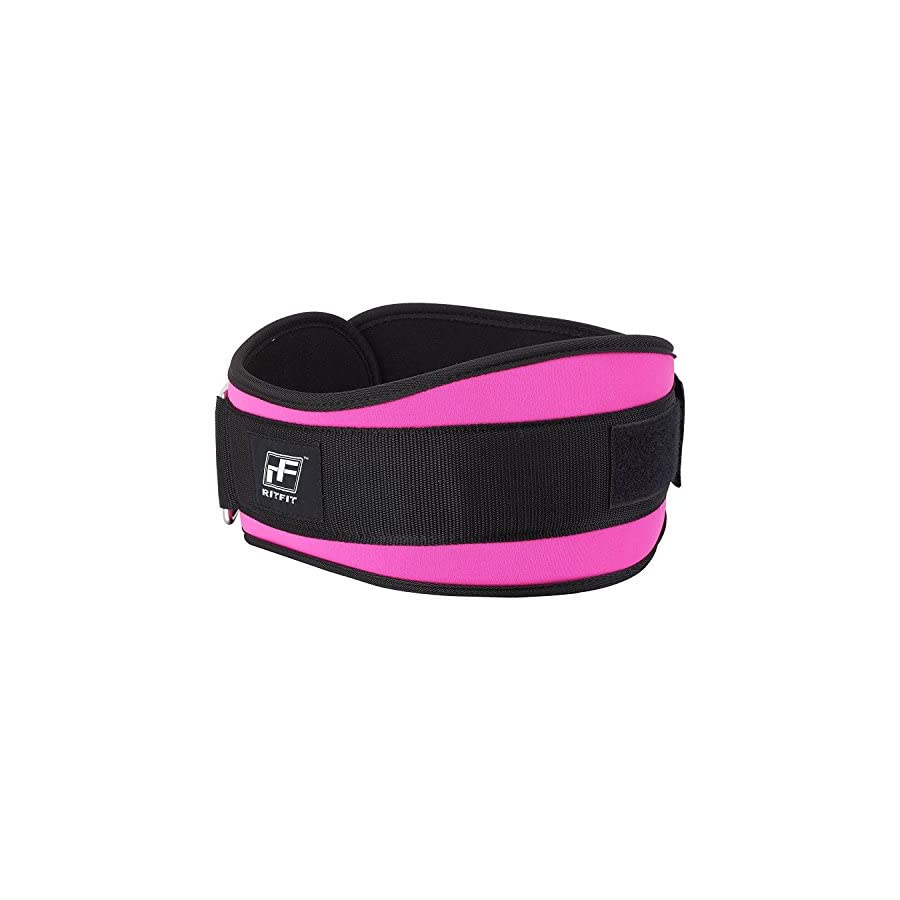RitFit Weight Lifting Belt Great for Squats, Crossfit, Lunges, Deadlift, Thrusters Women 6 Inch Pink Firm & Comfortable Lumbar Support with Back Injury Protection