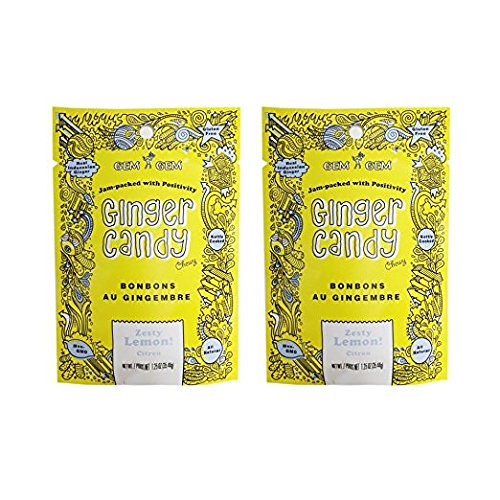 Gem Gem All Natural Chewy Ginger Candy 1.25oz (Lemon, 2 Pack)