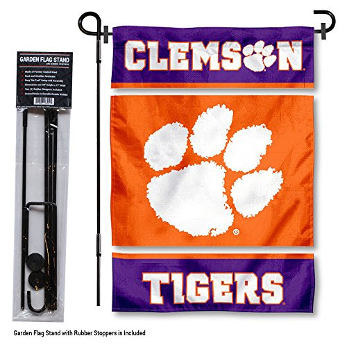 (College Flags and Banners Co. Clemson Tigers Garden Flag with Stand Holder)