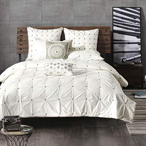 Ink+Ivy Masie Duvet Cover King/Cal King Size - White , Elastic Embroidery Tufted Ruffles Duvet Cover Set - 3 Piece - 100% Cotton Percale Light Weight Bed Comforter Covers