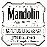 D\'Addario J7404 Phosphor Bronze Mandolin Single String, Fourth String, .040