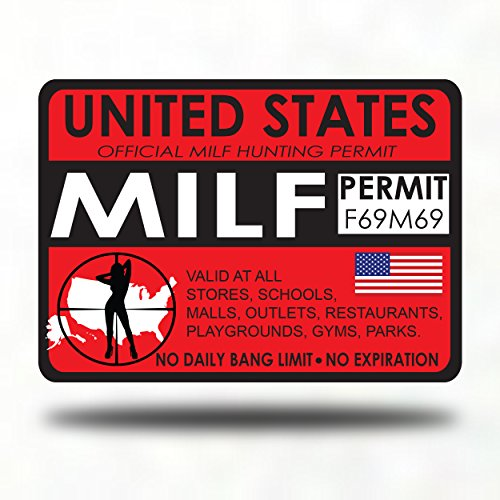 Milf Hunting Permit Sticker Decal Bumper - hunter zombie bigfoot unicorn hot milfs mom